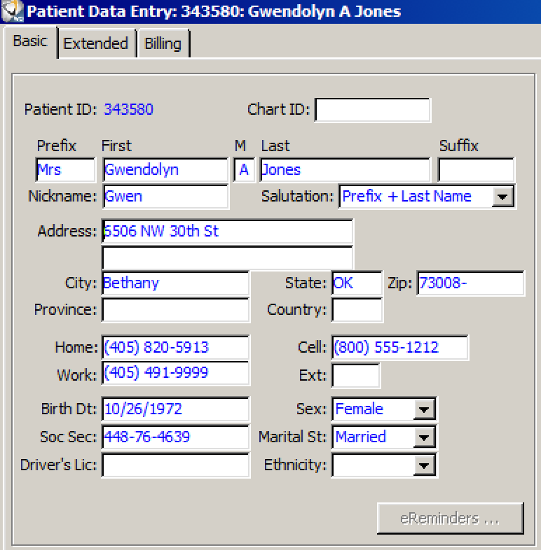 WinOMS patient data entry